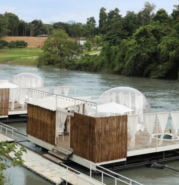 เปิดประสบการณ์นอนโดมใสริมแม่น้ำแควที่ The Three Bubble Houses จ.กาญจนบุรี